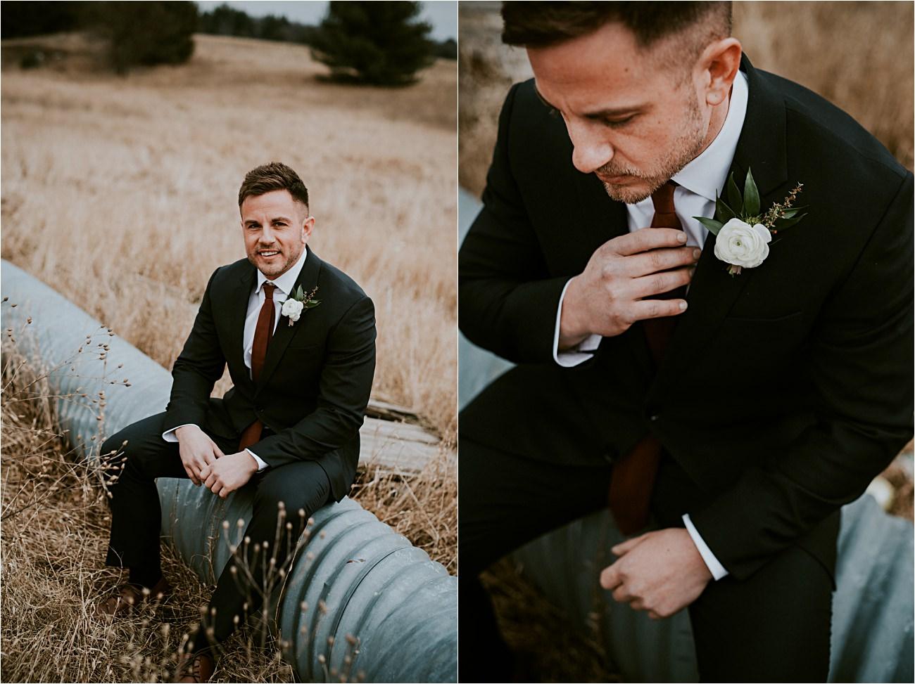 Groom Getting Ready - Magnolia Farms Wedding - Moody Wisconsin Wedding - Grey Wedding Dress - Natural Intuition Photography - Wisconsin Wedding Photographer