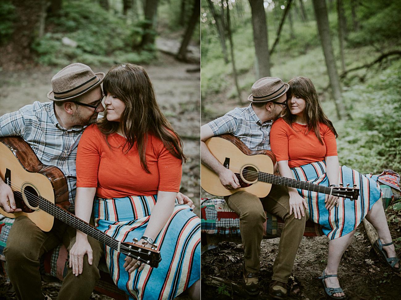 Milwaukee Engagement Session by Lake Michigan, Milwaukee Wedding Photographer, Engagement with guitars